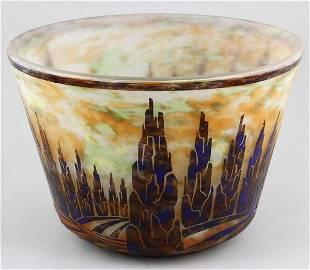 5116: Rare Le Verre Français Cameo Glass Cache Pot