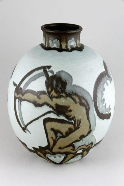 5124: Villory & Boch Luxemburg, Archers, Art Deco Vase
