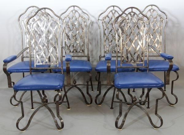 5135: 6 1970's Custom Iron and Vinyl Chairs