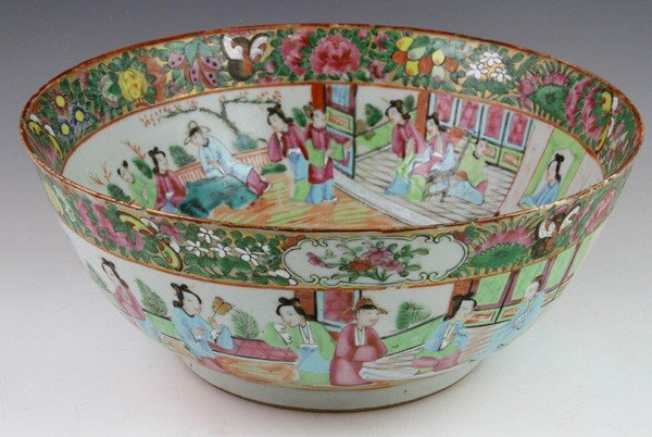 7001: 19th C. Chinese Rose Medallion Punch Bowl