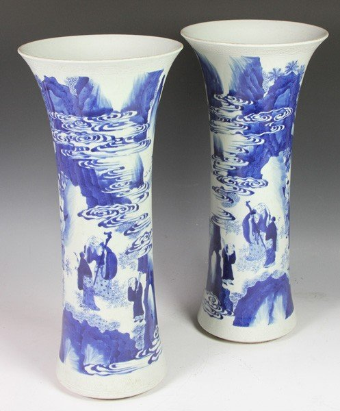7006: Pair of Chinese Early 20th C. Blue and White Vase