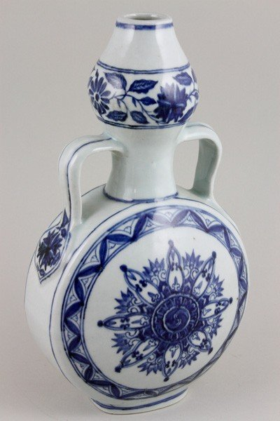 7008: Chinese 19th C. Blue and White Moonflask Vase