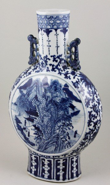7009: Chinese 19th C. Blue and White Moonflask Vase