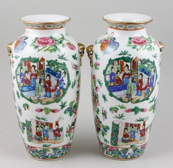 7015: Chinese 19th C. Rose Mandarin Vases