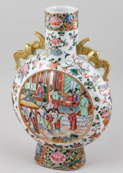 7016: Chinese 19th C. Rose Mandarin Moonflask Vase