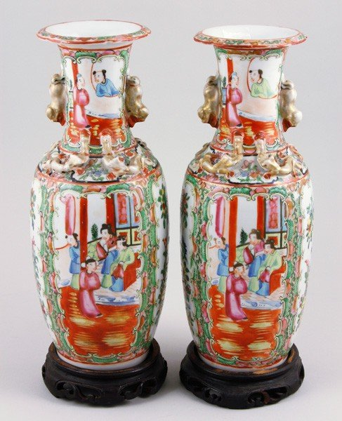 7017: Chinese 19th C. Pair of Rose Medallion Vases