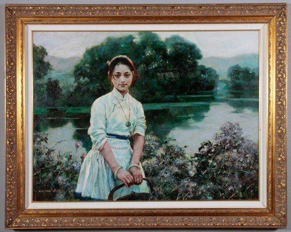 7071: Chinese 20th C. O/C Painting, Pan Honghai