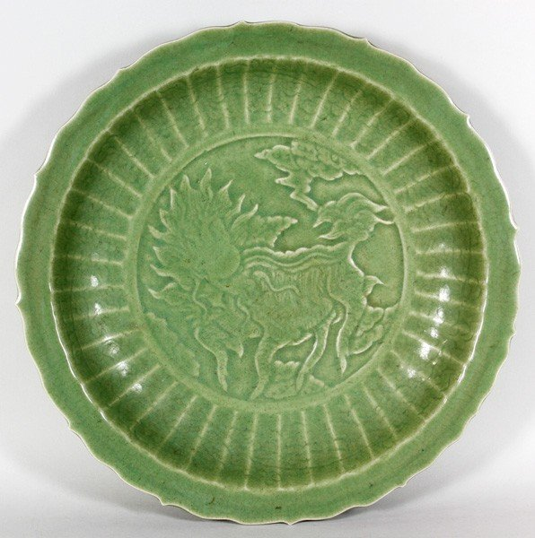 7076: Chinese 17th/18th C. Celadon Plate