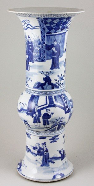 7084: Chinese 19th/20th C. Blue and White Gu Vase