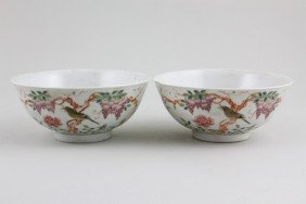 Chinese 19th/20th C. Pair Of Famille Rose Bowls