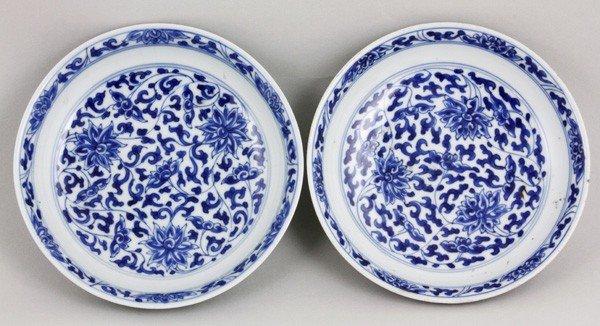 7135: Chinese Kangxi Period Pair of Blue and White Dish