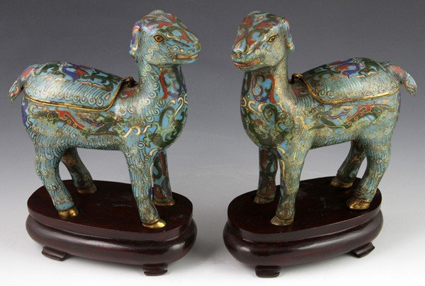 7151: 19th C. Chinese Cloisonné Censers