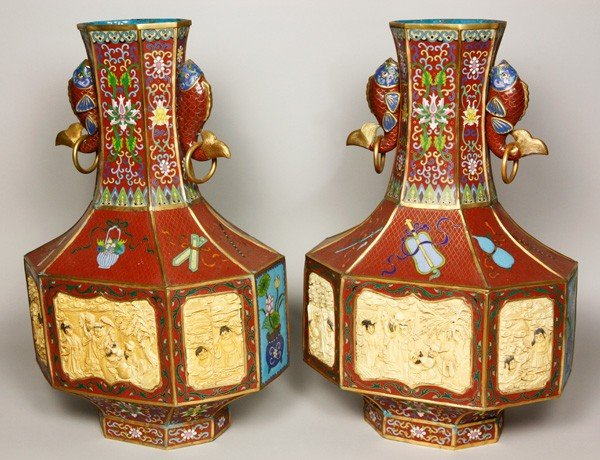 7155: Chinese Pair of Cloisonné Vases