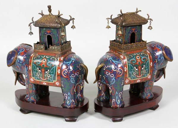 7156: Chinese 19th/20th C. Pair of Cloisonné Censers