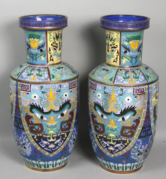 7156A: Pair of Chinese Cloisonné Vases