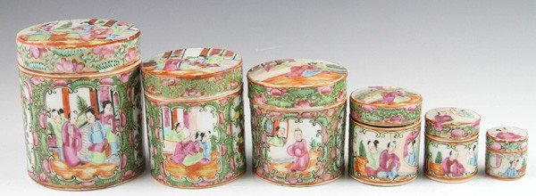 8008: Chinese 19th C. Rose Medallion Stacking Boxes