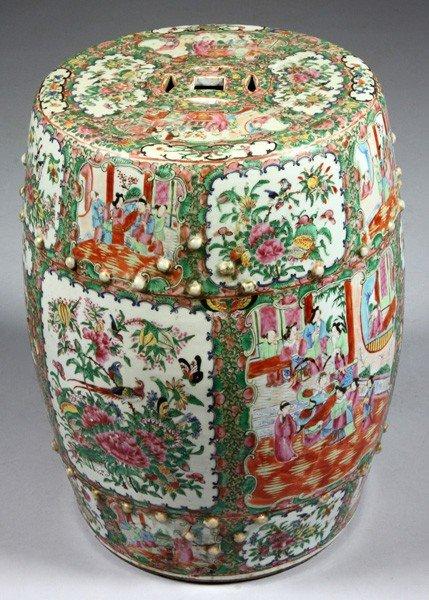 8010: Chinese 19th C. Rose Medallion Garden Seat