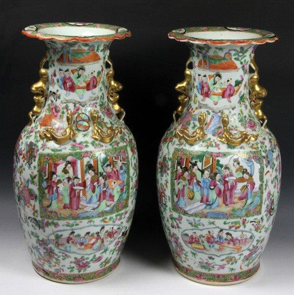8011: Chinese 19th C. Rose Medallion Vases