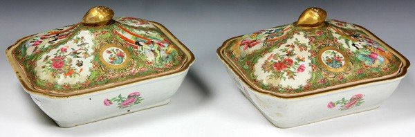 8012: Chinese 19th C. Rose Medallion Vegetable Dishes