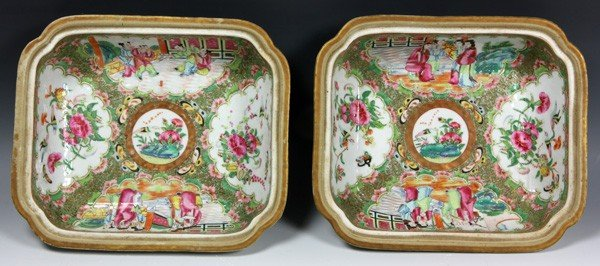 8012: Chinese 19th C. Rose Medallion Vegetable Dishes - 2