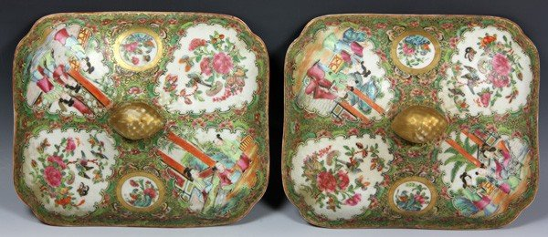 8012: Chinese 19th C. Rose Medallion Vegetable Dishes - 3