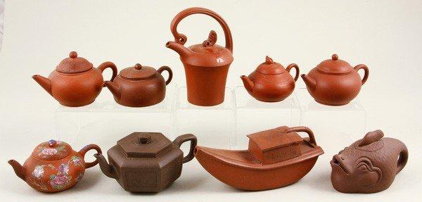 8288: Nine Chinese Yixing Teapots
