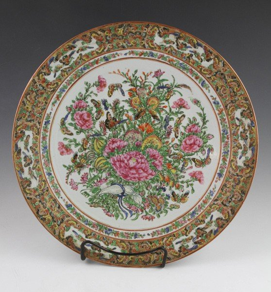 8001: Chinese 19th C.  Rose Canton Charger