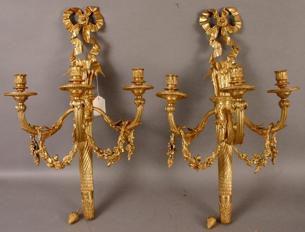 2: PAIR OF FRENCH STYLE GILT SCONCES