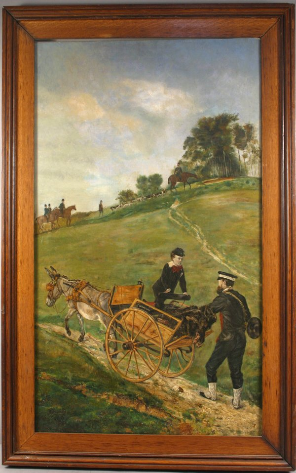 4: 19TH CENTURY OIL ON CANVAS HORSE WITH WAGON