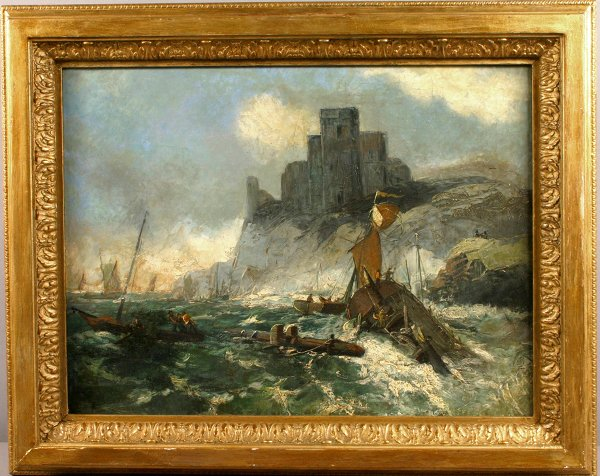 8: 19TH CENTURY OIL ON CANVAS SHIPS IN STORMY WATER