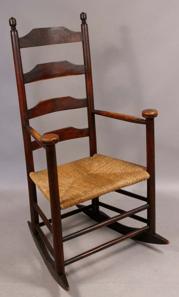 20: THREE AMERICAN ROCKING CHAIRS CANE & RUSH SEATS