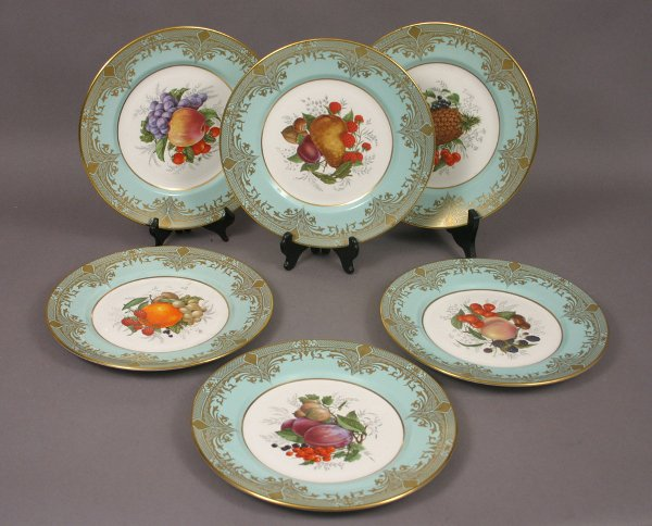 23: SIX LAVERSWALL ENGLISH BONE CHINA FRUIT PLATES