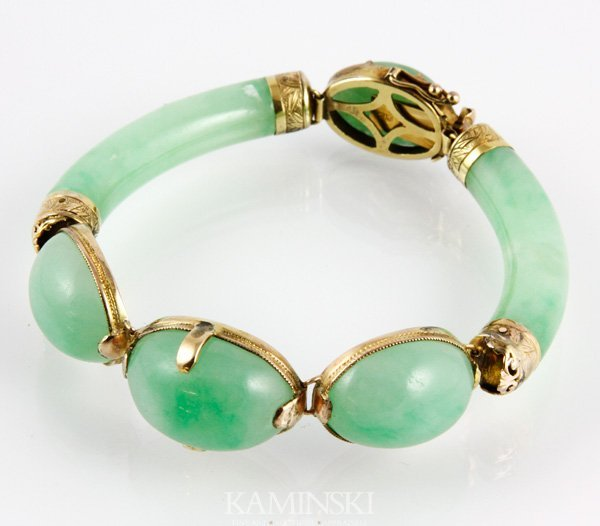 2001: 14K Gold and Jade Bracelet