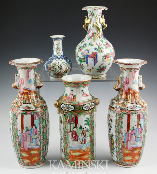 2017: 5 19th C. Chinese Rose Medallion Vases