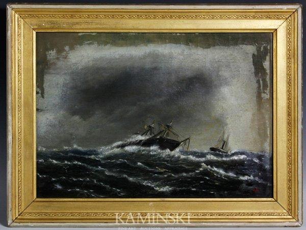 3004: 19th C. American School, Ships, O/C