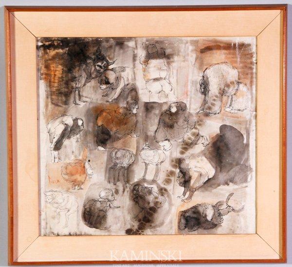 3012: Cuevas, Stylized Figures, W/C