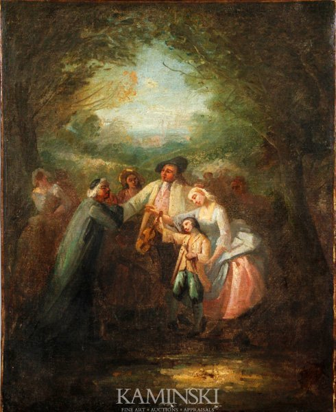 3062: Fragonard, Figures with a Violin, O/C