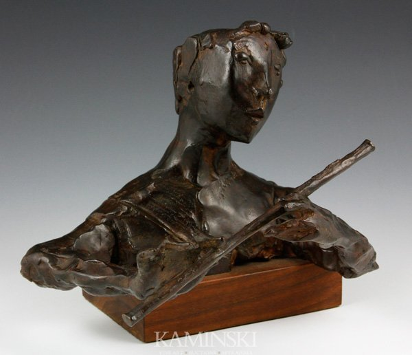 "3067: Aronson, ""Boy with Flute"", Bronze"