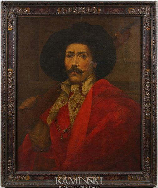 3071: 19th C. Painting of a Spanish Conquistador