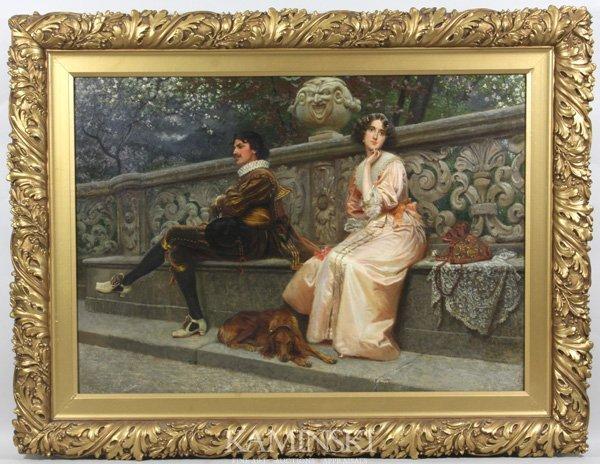 3095: Attr. Prinsep, Italian Courtyard Scene, O/C