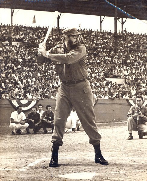 9090: Photograph of Castro Playing Baseball