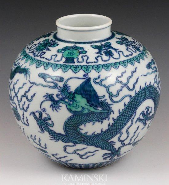 4019: Chinese Doucai Green Dragon Jar