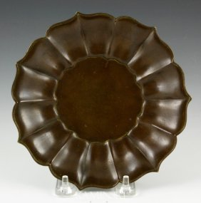 Chinese Bronze Foliate Dish