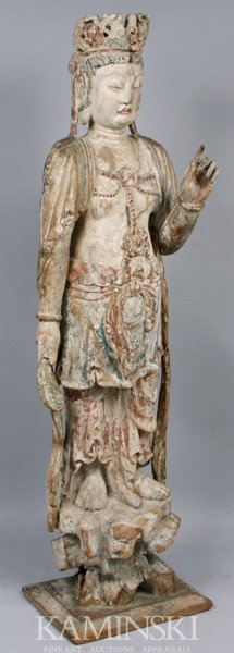 17th C. Chinese Quan Yin Standing Figure W/20th C