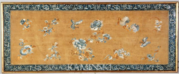 4123: 19th C. Chinese Qing Dynasty Embroidered Hanging