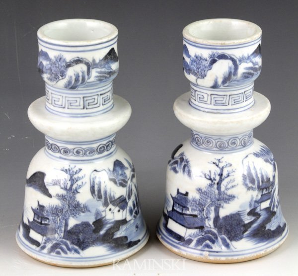 4128: Pair of 18th/19th C. Chinese Candle Holders