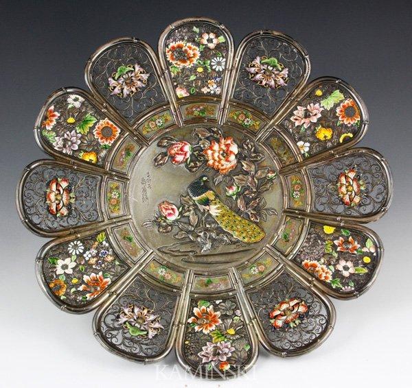 4190: Japanese Silver Peacock Dish