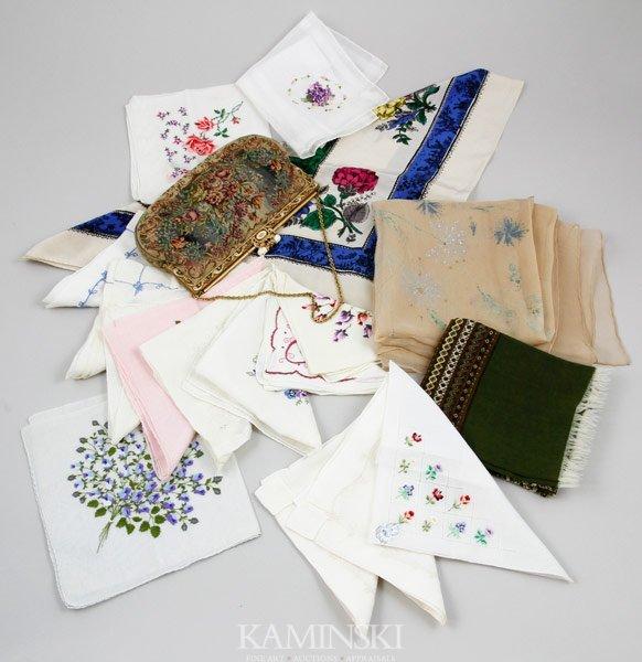 5016: Lot of Scarves, Handkerchiefs and Handbag