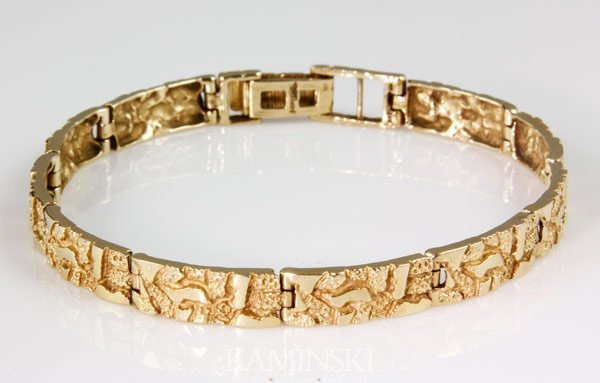 6003: 14K Gold Nugget Style Bracelet