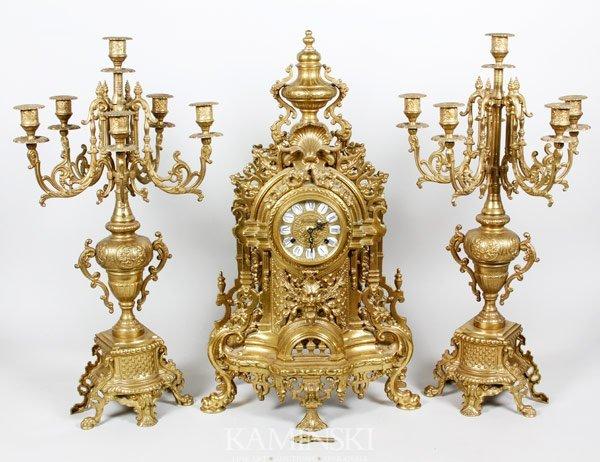 6004: German Bronze Clock Set